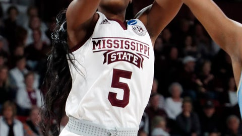 <p>               Mississippi State forward Anriel Howard (5) shoots a basket against Southern during the first half of a first round women's college basketball game in the NCAA Tournament in Starkville, Miss., Friday, March 22, 2019. (AP Photo/Rogelio V. Solis)             </p>