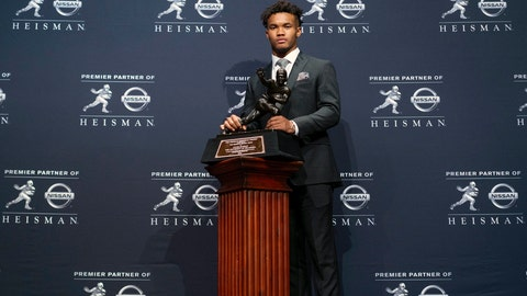 <p>               FILE - In this Dec. 8, 2018, file photo, Oklahoma quarterback Kyler Murray poses with the Heisman Trophy after winning the award, in New York. Murray's measurements were among the most anticipated at this year's NFL scouting combine after he spurned the Oakland Athletics and a career in Major League Baseball for a shot at the NFL. (AP Photo/Craig Ruttle, File)             </p>