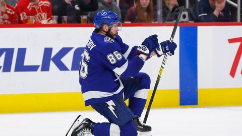 <p>               Tampa Bay Lightning right wing Nikita Kucherov (86) celebrates his goal against the Detroit Red Wings in the third period of an NHL hockey game, Thursday, March 14, 2019, in Detroit. (AP Photo/Paul Sancya)             </p>