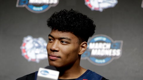 <p>               Gonzaga's Rui Hachimura speaks during a news conference Friday, March 29, 2019, in Anaheim, Calif. Texas Tech plays Gonzaga in the NCAA men's college basketball tournament West regional final Saturday. (AP Photo/Chris Carlson)             </p>