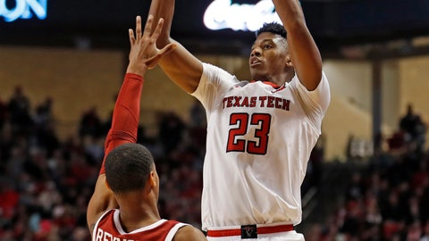 <p>               FILE - In this Jan. 8, 2019, file photo, Texas Tech's Jarrett Culver (23) shoots over Oklahoma's Miles Reynolds (3) during the second half of an NCAA college basketball game, in Lubbock, Texas. Culver was named the Big 12 Conference Player of the Year, Tuesday, March 12, 2019.(AP Photo/Brad Tollefson, File)             </p>