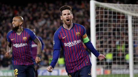 <p>               Barcelona's Lionel Messi, right, celebrates after scoring his side's third goal during the Champions League round of 16, 2nd leg, soccer match between FC Barcelona and Olympique Lyon at the Camp Nou stadium in Barcelona, Spain, Wednesday, March 13, 2019. (AP Photo/Emilio Morenatti)             </p>