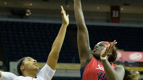 <p>               South Alabama forward Antoinette Lewis (35) shoots over Little Rock forward Ronjanae DeGray (00) in the first half of an NCAA college basketball game in the championship game of the Sun Belt Conference women's tournament in New Orleans, La. Saturday, March 16, 2019. (AP Photo/Matthew Hinton)             </p>