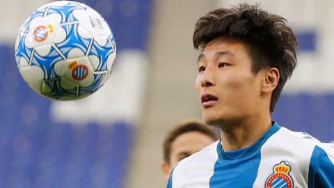 <p>               FILE - In this Tuesday, Jan. 29, 2019 file photo, newly signed Espanyol soccer player Wu Lei eyes the ball during his official presentation at RCDE stadium in Cornella Llobregat, Spain. When Barcelona takes on city rival Espanyol on Saturday March 30, 2019, the Catalan derby will feature Lionel Messi, the Argentina star the world is used to watching, and the Wu Lei, the Chinese sensation that China is starting to fall in love with. (AP Photo/Manu Fernandez, File)             </p>