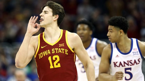 KANSAS CITY, MISSOURI - MARCH 16:  Michael Jacobson #12 of the Iowa State Cyclones reacts after making a three-pointer during the Big 12 Basketball Tournament Finals against the Kansas Jayhawks at Sprint Center on March 16, 2019 in Kansas City, Missouri. (Photo by Jamie Squire/Getty Images)