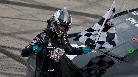 FORT WORTH, TX - MARCH 30:  Kyle Busch, driver of the #18 iK9 Toyota, celebrates after winning the NASCAR Xfinity Series My Bariatric Solutions 300 at Texas Motor Speedway on March 30, 2019 in Fort Worth, Texas.  (Photo by Matt Sullivan/Getty Images)
