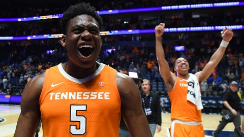 Mar 16, 2019; Nashville, TN, USA; Tennessee Volunteers guard Admiral Schofield (5) and Volunteers forward Grant Williams (2) celebrate after defeating the Kentucky Wildcats in the SEC conference tournament at Bridgestone Arena. Mandatory Credit: Christopher Hanewinckel-USA TODAY Sports