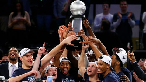 Mar 16, 2019; New York, NY, USA; The Villanova Wildcats celebrate after winning the Big East conference tournament final against the Seton Hall Pirates at Madison Square Garden. Mandatory Credit: Noah K. Murray-USA TODAY Sports