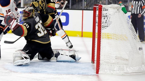 <p>               The Edmonton Oilers score on Vegas Golden Knights goalie Malcolm Subban during the third period of an NHL hockey game Sunday, March 17, 2019, in Las Vegas. The Golden Knights won, 6-3. (AP Photo/Isaac Brekken)             </p>