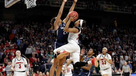 <p>               Connecticut forward Napheesa Collier (24) defends against Louisville guard Asia Durr (25) who goes up for two points during the second half of a regional championship final in the NCAA women's college basketball tournament, Sunday, March 31, 2019, in Albany, N.Y. Louisville forward Sam Fuehring (3), guard Arica Carter (11) and forward Bionca Dunham (33) watch from the floor. (AP Photo/Kathy Willens)             </p>