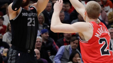 <p>               Detroit Pistons forward Blake Griffin, left, shoots against Chicago Bulls forward Lauri Markkanen during the first half of an NBA basketball game Friday, March 8, 2019, in Chicago. (AP Photo/Nam Y. Huh)             </p>