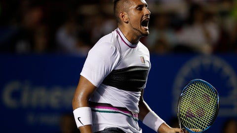 <p>               Australia's Nick Kyrgios shouts as he celebrates a point in a hard-fought set in his Mexican Tennis Open quarterfinal match against Switzerland's Stan Wawrinka, in Acapulco, Mexico, Thursday, Feb. 28, 2019. (AP Photo/Rebecca Blackwell)             </p>