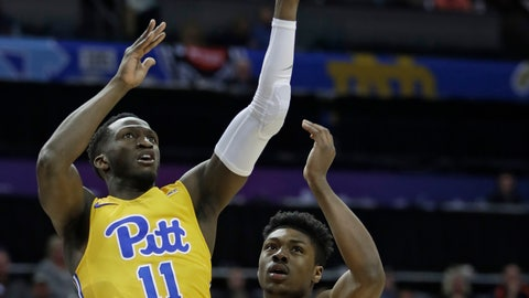 <p>               Pittsburgh's Sidy N'Dir (11) shoots against Boston College's Jared Hamilton during the first half of an NCAA college basketball game in the Atlantic Coast Conference men's tournament in Charlotte, N.C., Tuesday, March 12, 2019. (AP Photo/Nell Redmond)             </p>