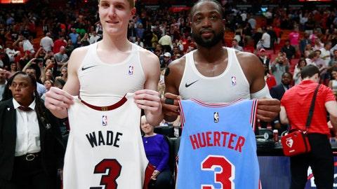 <p>               Miami Heat guard Dwyane Wade, right, and Atlanta Hawks guard Kevin Huerter swap jerseys after an NBA basketball game, Monday, March 4, 2019, in Miami.  (AP Photo/Wilfredo Lee)             </p>