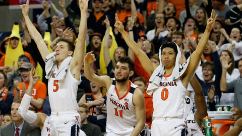 <p>               Virginia guards Kyle Guy (5), Ty Jerome (11) and Kihei Clark (0) celebrates a teammates 3-point basket during the second half of an NCAA college basketball game in Charlottesville, Va., Saturday, March 2, 2019. Virginia defeated Pittsburgh 73-49. (AP Photo/Steve Helber)             </p>