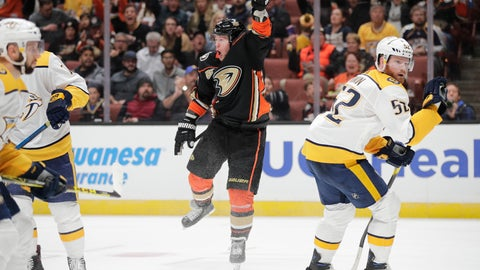 <p>               Anaheim Ducks' Daniel Sprong, center, of the Netherlands, celebrates his goal next to Nashville Predators' Matt Irwin, right, during the second period of an NHL hockey game, Tuesday, March 12, 2019, in Anaheim, Calif. (AP Photo/Jae C. Hong)             </p>