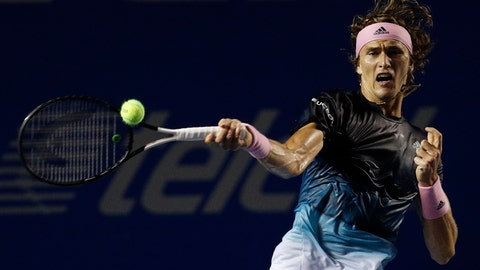 <p>               Germany's Alexander Zverev returns a ball in his Mexican Tennis Open semifinal match against Great Britain's Cameron Norrie, in Acapulco, Mexico, Friday, March 1, 2019. (AP Photo/Rebecca Blackwell)             </p>