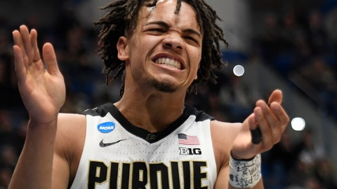 <p>               Purdue's Carsen Edwards reacts during the second half of a first round men's college basketball game against Old Dominion in the NCAA tournament, Thursday, March 21, 2019, in Hartford, Conn. (AP Photo/Jessica Hill)             </p>