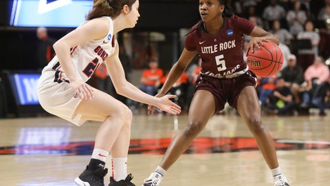 <p>               Little Rock's Tori Lasker (5) tries to get past Gonzaga's Katie Campbell (24) during the first half of a first-round game of the NCAA women's college basketball tournament in Corvallis, Ore., Saturday, March 23, 2019. (AP Photo/Amanda Loman)             </p>