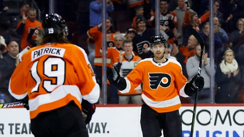<p>               Philadelphia Flyers' Michael Raffl, right, and Nolan Patrick celebrate after Raffl's goal during the second period of an NHL hockey game against the Ottawa Senators, Monday, March 11, 2019, in Philadelphia. (AP Photo/Matt Slocum)             </p>