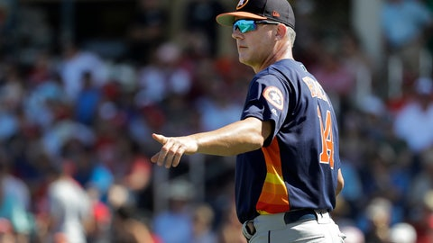 <p>               Houston Astros manager AJ Hinch motions to the bullpen as he walks out to the mound to make pitching change during the third inning of an exhibition spring training baseball game against the Washington Nationals Sunday, March 3, 2019, in West Palm Beach, Fla. (AP Photo/Jeff Roberson)             </p>