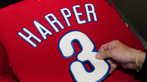 <p>               Peggy McBreen makes a Philadelphia Phillies' Bryce Harper baseball shirt at Citizens Bank Park in Philadelphia, Monday, March 4, 2019. (AP Photo/Matt Rourke)             </p>