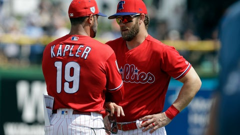 <p>               Philadelphia Phillies manager Gabe Kapler (19) talks to Bryce Harper before a spring training baseball game against the Tampa Bay Rays Monday, March 11, 2019, in Clearwater, Fla. (AP Photo/Chris O'Meara)             </p>