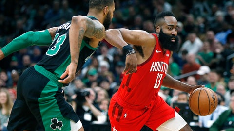 <p>               Houston Rockets' James Harden, right, drives past Boston Celtics' Marcus Morris during the second half of an NBA basketball game in Boston, Sunday, March 3, 2019. (AP Photo/Michael Dwyer)             </p>