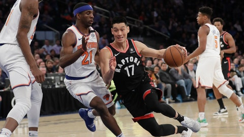 <p>               Toronto Raptors' Jeremy Lin (17) drives past New York Knicks' Damyean Dotson (21) during the first half of an NBA basketball game Thursday, March 28, 2019, in New York. (AP Photo/Frank Franklin II)             </p>