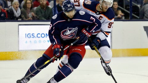 <p>               Edmonton Oilers forward Connor McDavid, right, controls the puck against Columbus Blue Jackets defenseman Seth Jones during the first period of an NHL hockey game in Columbus, Ohio, Saturday, March 2, 2019. (AP Photo/Paul Vernon)             </p>