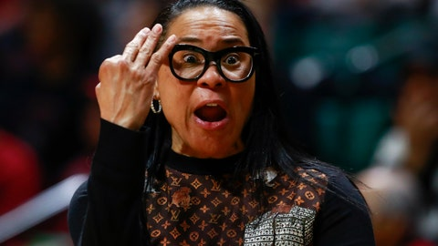 <p>               South Carolina head coach Dawn Staley talks to her team while facing Florida State during the first half of a second-round women's college basketball game in the NCAA Tournament in Charlotte, N.C., Sunday, March 24, 2019. (AP Photo/Jason E. Miczek)             </p>