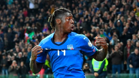 <p>               Italy's Moise Kean celebrates after scoring his side's second goal during the Euro 2020 Group J qualifying soccer match between Italy and Finland at the Friuli-Dacia Arena stadium in Udine, Italy, Saturday, March 23, 2019. (Alberto Lancia/ANSA via AP)             </p>