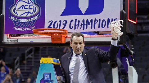 <p>               Duke head coach Mike Krzyzewski celebrates Duke's win over Florida State after cutting down a net after the NCAA college basketball championship game of the Atlantic Coast Conference tournament in Charlotte, N.C., Saturday, March 16, 2019. (AP Photo/Nell Redmond)             </p>