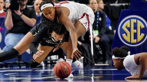 <p>               Alabama's Jasmine Walker, top, battles for a loose ball with Vanderbilt's LeaLea Carter, left, during the first half of an NCAA college basketball game in the Southeastern Conference women's tournament, Wednesday, March 6, 2019, in Greenville, S.C. (AP Photo/Richard Shiro)             </p>