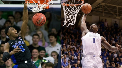 <p>               FILE - At left, in a Jan. 28, 2019, file photo, Duke's RJ Barrett (5) dunks against Notre Dame during the second half of an NCAA college basketball game, in South Bend, Ind. At right, in a Jan. 19, 2019, file photo, Duke's Zion Williamson (1) drives to the basket against Virginia during the second half of an NCAA college basketball game, in Durham, N.C. Duke freshmen RJ Barrett and Zion Williamson are 1-2 in the league in scoring. They could end up that way for top ACC player, too. (AP Photo/File)             </p>