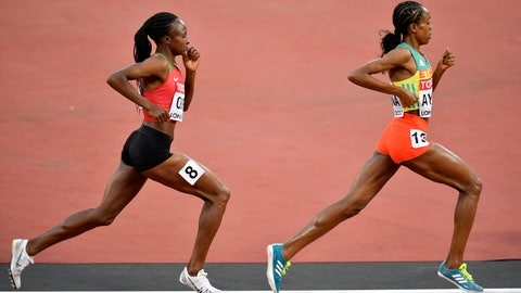 <p>               FILE  - In this Sunday, Aug. 13, 2017 file photo, Ethiopia's Almaz Ayana leads Kenya's Hellen Onsando Obiri during the Women's 5000 meters final at the World Athletics Championships in London. The IAAF's decision to drop the 5,000 meters from its Diamond League track and field series has been met with strong resistance from Ethiopia and Kenya, the East African nations whose athletes dominate long-distance events.  (AP Photo/Martin Meissner, File)             </p>