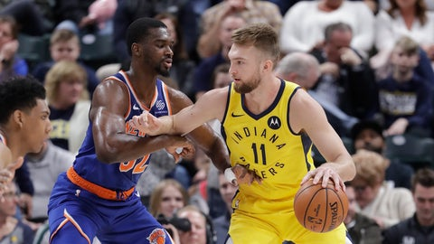 <p>               Indiana Pacers' Domantas Sabonis (11) is defended by New York Knicks' Noah Vonleh (32) during the first half of an NBA basketball game Tuesday, March 12, 2019, in Indianapolis. (AP Photo/Darron Cummings)             </p>