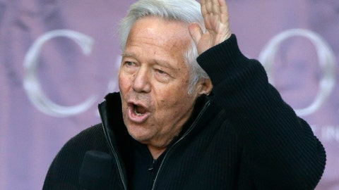 <p>               FILE - In this Jan. 27, 2019, file photo, New England Patriots owner Robert Kraft addressing the crowd during an NFL football Super Bowl send-off rally for the team, in Foxborough, Mass. Attorneys for New England Patriots owner Robert Kraft want a Florida judge to block prosecutors from using secretly taken video that police say shows him engaging in paid sex acts with female massage parlor employees. Kraft's attorneys challenged in court documents filed Thursday, March 28, 2019, the warrant allowing Jupiter police officers to hide video cameras in the Orchids of Asia Day Spa. (AP Photo/Steven Senne, File)             </p>