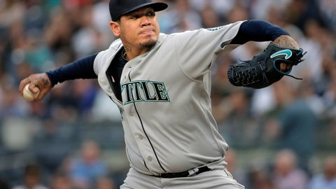 <p>               FILE - In this Wednesday, June 20, 2018 file photo, Seattle Mariners starting pitcher Felix Hernandez throws during the first inning of a baseball game against the New York Yankees at Yankee Stadium in New York. Felix Hernandez says he's upset to have been passed over for opening day, but the longtime Seattle Mariners ace isn't surprised. Hernandez spoke publicly Sunday, march 10, 2019 for the first time since manager Scott Servais announced a day earlier that Marco Gonzales would pitch Seattle's season opener against Oakland in Japan on March 20. (AP Photo/Seth Wenig, File)             </p>