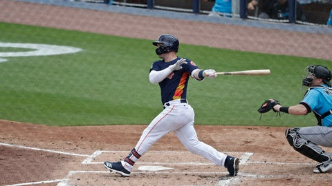 <p>               Houston Astros' Alex Bregman hits a home run in the first inning during an exhibition spring training baseball game against the Miami Marlins, Thursday, March 14, 2019, in West Palm Beach Fla. (AP Photo/Brynn Anderson)             </p>