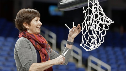 <p>               Notre Dame head coach Muffet McGraw cuts a piece of the net after her team defeated Louisville in an NCAA college basketball game in the championship of the Atlantic Coast Conference women's tournament in Greensboro, N.C., Sunday, March 10, 2019. (AP Photo/Chuck Burton)             </p>