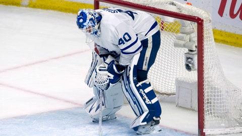 <p>               Toronto Maple Leafs goaltender Garret Sparks reacts following the Ottawa Senators fourth goal in NHL action Saturday March 30, 2019 in Ottawa, Ontario. (Adrian Wyld/The Canadian Press via AP)             </p>