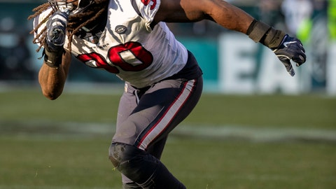 <p>               FILE - In this Dec. 23, 2018, file photo, Houston Texans outside linebacker Jadeveon Clowney moves toward the action during an NFL football game against the Philadelphia Eagles, in Philadelphia. The Houston Texans have placed the non-exclusive franchise tag on defensive end/outside linebacker Jadeveon Clowney. (AP Photo/Chris Szagola, File)             </p>