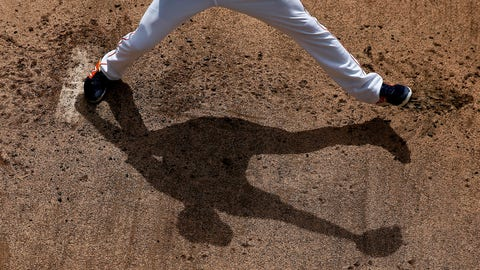 <p>               Houston Astros' Collin McHugh casts a shadow as he throws in the bullpen before an exhibition spring training baseball game against the Miami Marlins on Thursday, March 14, 2019, in West Palm Beach, Fla. (AP Photo/Brynn Anderson)             </p>