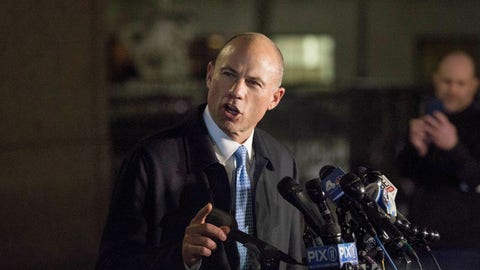 <p>               Attorney Michael Avenatti delivers remarks in front of federal court after his initial appearance in an extortion case Monday, March 25, 2019, in New York. Avenatti was arrested Monday on charges that included trying to shake down Nike for as much as $25 million by threatening the company with bad publicity. (AP Photo/Kevin Hagen)             </p>