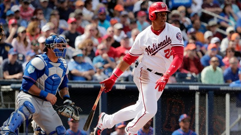<p>               FILE - In this March 7, 2019, file photo, Washington Nationals left fielder Juan Soto (22) looks to the outfield after batting in the fourth inning of an exhibition spring training baseball game in West Palm Beach, Fla.  Soto, last season's surprise runner-up as NL Rookie of the Year at age 19, has a big hole to fill in the Nationals' lineup with Bryce Harper gone. (AP Photo/Brynn Anderson, File)             </p>