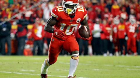 "<p>               FILE - In this Dec. 13, 2018, file photo, Kansas City Chiefs wide receiver Tyreek Hill (10) runs with the ball during the first half of the team's NFL football game against the Los Angeles Chargers in Kansas City, Mo. The Chiefs are investigating an incident in which Hill was involved in a domestic battery episode in suburban Kansas City earlier this week. The team said in a statement to The Associated Press that it was aware of a police report filed Thursday, March 14, by the Overland Park Police Department that lists Hill's address and identifies a juvenile as the victim. Hill's fiancee, Crystal Espinal, is identified among ""others involved."" (AP Photo/Charlie Riedel, File)             </p>"