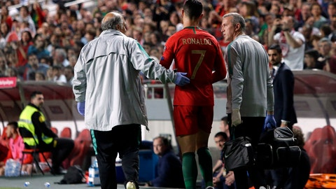 <p>               Portugal's Cristiano Ronaldo leaves the pitch during the Euro 2020 group B qualifying soccer match between Portugal and Serbia at the Luz stadium in Lisbon, Portugal, Monday, March 25, 2019. (AP Photo/Armando Franca)             </p>