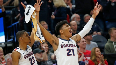 <p>               Gonzaga's Zach Norvell Jr. (23) and Rui Hachimura (21) celebrate a score against Baylor during the first half of a second-round game in the NCAA men's college basketball tournament Saturday, March 23, 2019, in Salt Lake City. (AP Photo/Rick Bowmer)             </p>