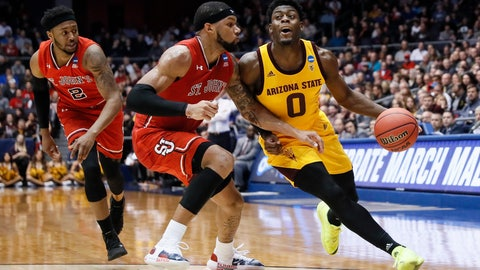 <p>               Arizona State's Luguentz Dort (0) drives against St. John's Marvin Clark II, center, during the first half of a First Four game of the NCAA men's college basketball tournament Wednesday, March 20, 2019, in Dayton, Ohio. (AP Photo/John Minchillo)             </p>